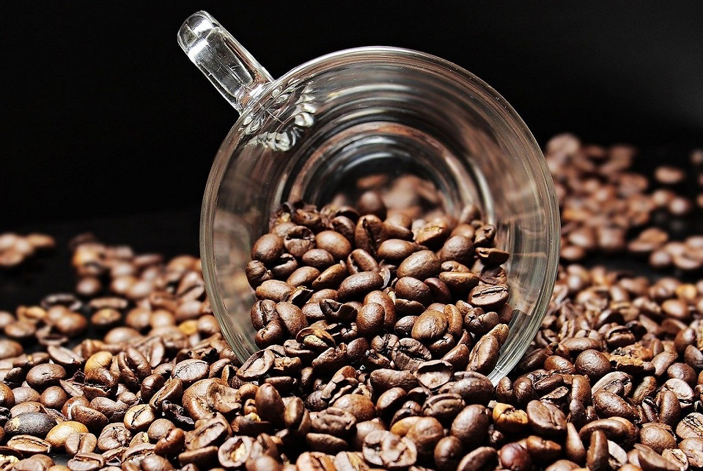 tasse de café plongée dans des grains de café